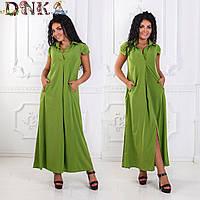 Платье с карманами №3025Г ( р-р.44-46)-итальянский креп.Цвета в ассортименте.