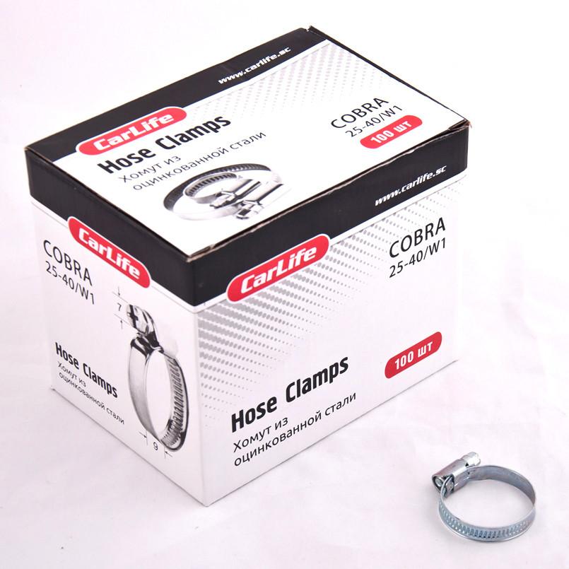 Хомут оцинкованный CarLife 25-40 9мм W1