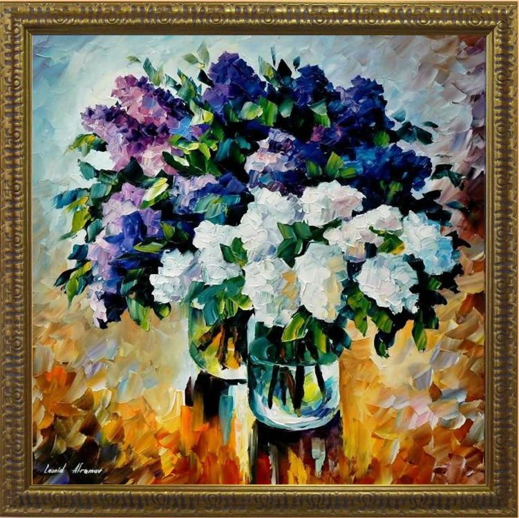 Репродукция  современной картины «Букет на синем» 60 х 60 см