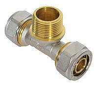 Тройник резьба наружная 20*3/4 M*20 для металлопластиковой трубы