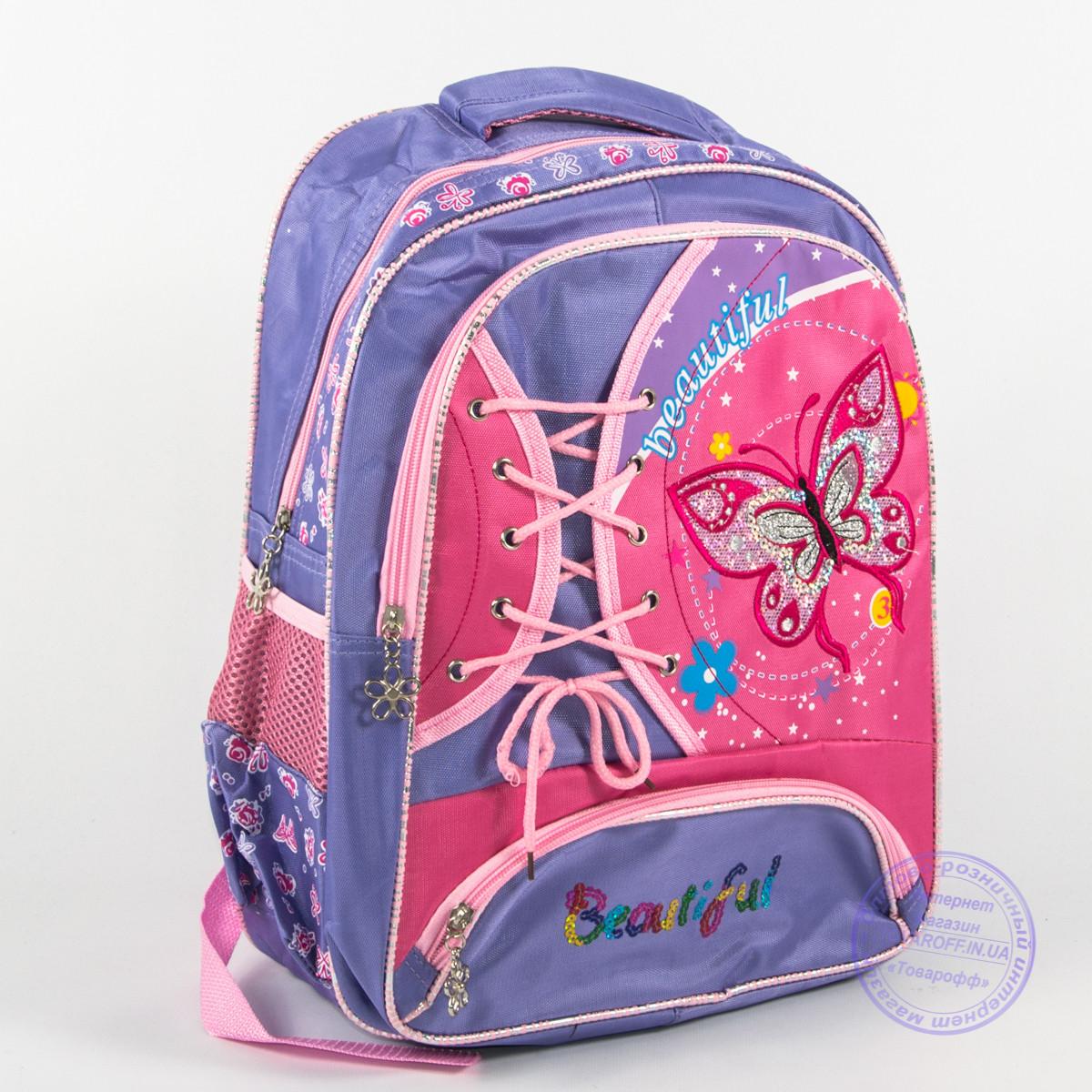 Школьный рюкзак для девочек с бабочкой - сиреневый - 148