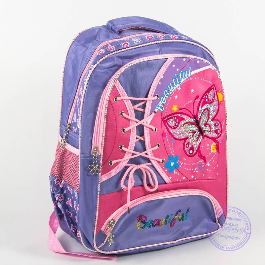 Школьный рюкзак для девочек с бабочкой - сиреневый - 148, фото 2
