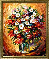 Репродукция  современной картины «Букет на красном» 65 х 80 см