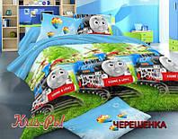 Полуторный набор постельного белья Ранфорс Паровозик Томас №18665 KRISPOL™