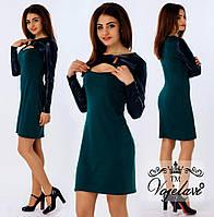 Платье со вставками эко-кожи. 4 цвета. Р-ры: 42, 44, 46.