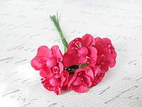 Цветы вишни для скрапбукинга диаметр 3 см малинового цвета, фото 1