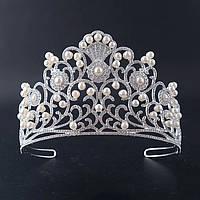 Высокая корона, диадема, тиара в серебре с жемчугом,  высота 10 см.
