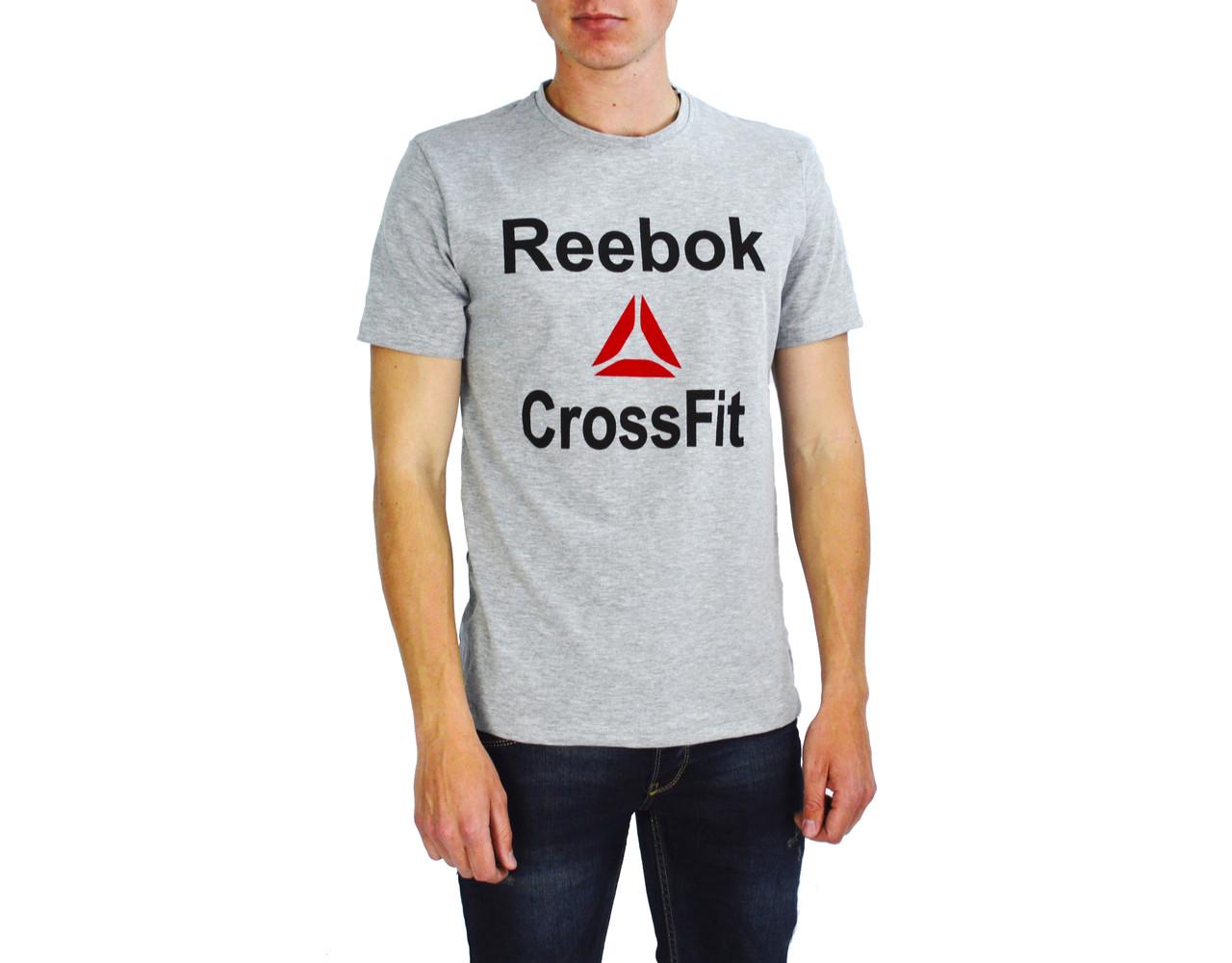 Серая мужская футболка с надписью REEBOK на лето