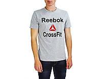 Серая мужская футболка с надписью REEBOK на лето, фото 1