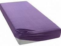 Фиолетовая простынь-наматрасник из поплина, все размеры
