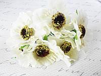 Декоративные цветы (маки) диаметр 5 см, 6шт/уп. белого, молочного цвета, фото 1