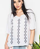 Женская белая блузка с орнаментом(519br)
