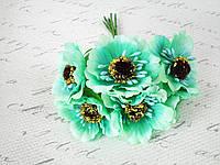 Декоративные цветы (маки) диаметр 5 см, 6 шт/уп.бирюзового, мятного цвета, фото 1