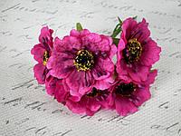 Декоративные цветы (маки) диаметр 5 см, 6 шт/уп. насыщенно-сиреневого, бурячного цвета, фото 1