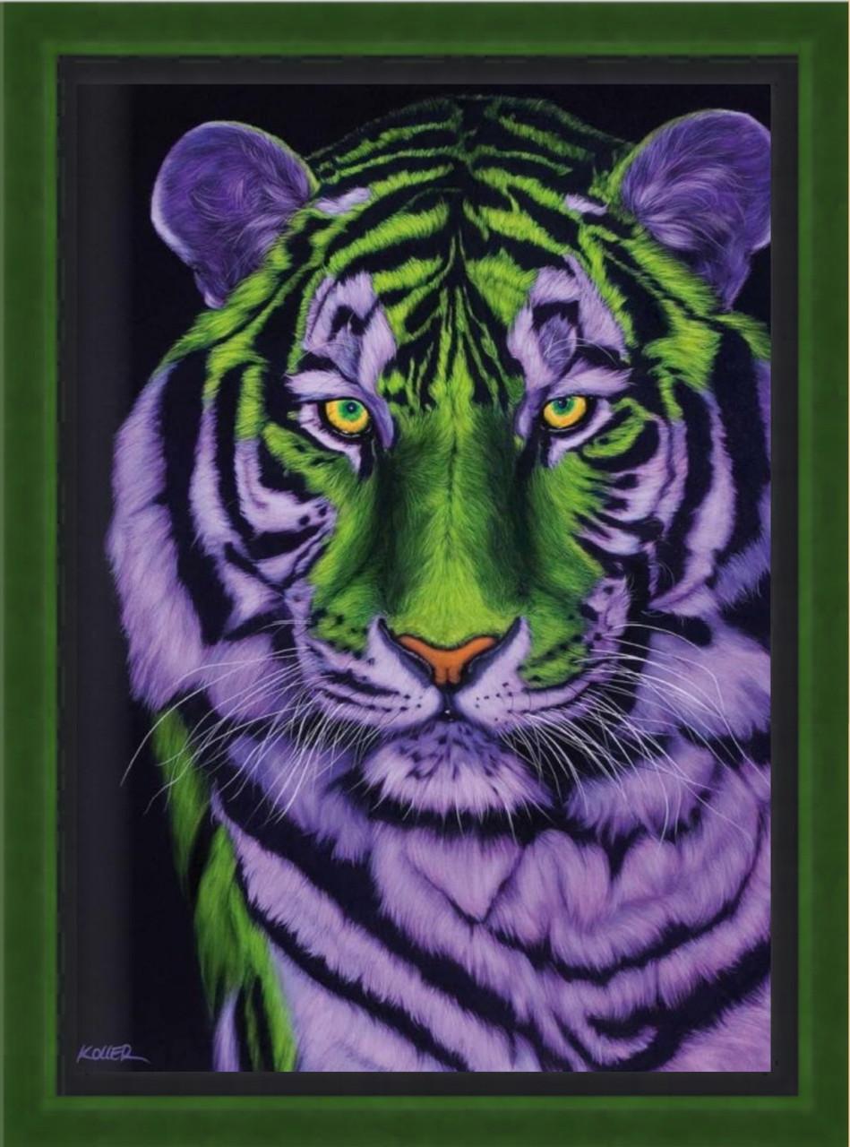 Репродукція сучасної картини «Голова тигра в зелених і фіолетових тонах»