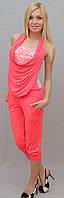Женский костюм с бриджами розовый