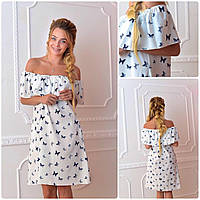 Платье 786 белый принт бабочки
