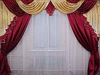 Ламбрекен и шторы из атласа. Модель №76. Цвет бордовый с золотым