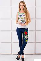 Женские, красивые, катоновые  лосины с вышивкой ХИТ СЕЗОНА , цвет джинс р- 44, 46, 48, 50, 52