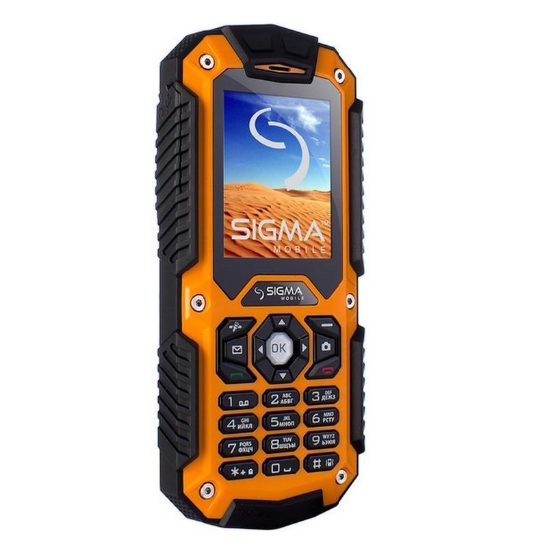 Противоударный кнопочный телефон Sigma Х-treme IT67 оранжевый