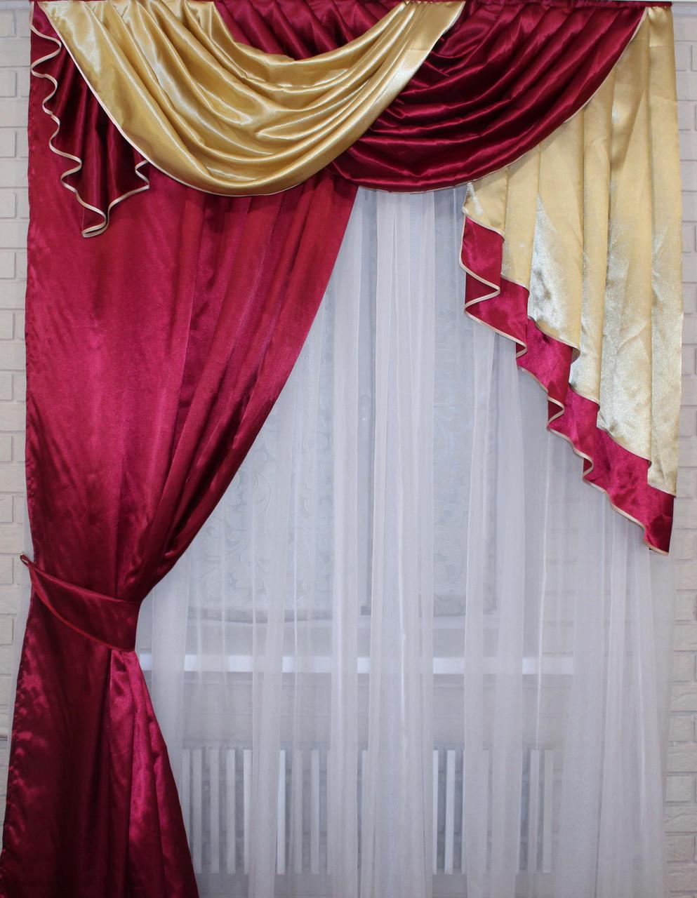 Ламбрекен на карниз 1.5м. со шторкой.  Модель №81 Цвет бордовый с золотистым