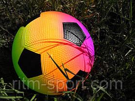 Мяч детский резиновый футбол радуга, фото 3