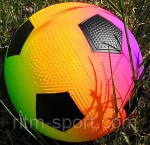 Мяч детский резиновый футбол радуга, фото 2