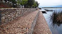 Укрепление береговой линии габионами, защита от размывов