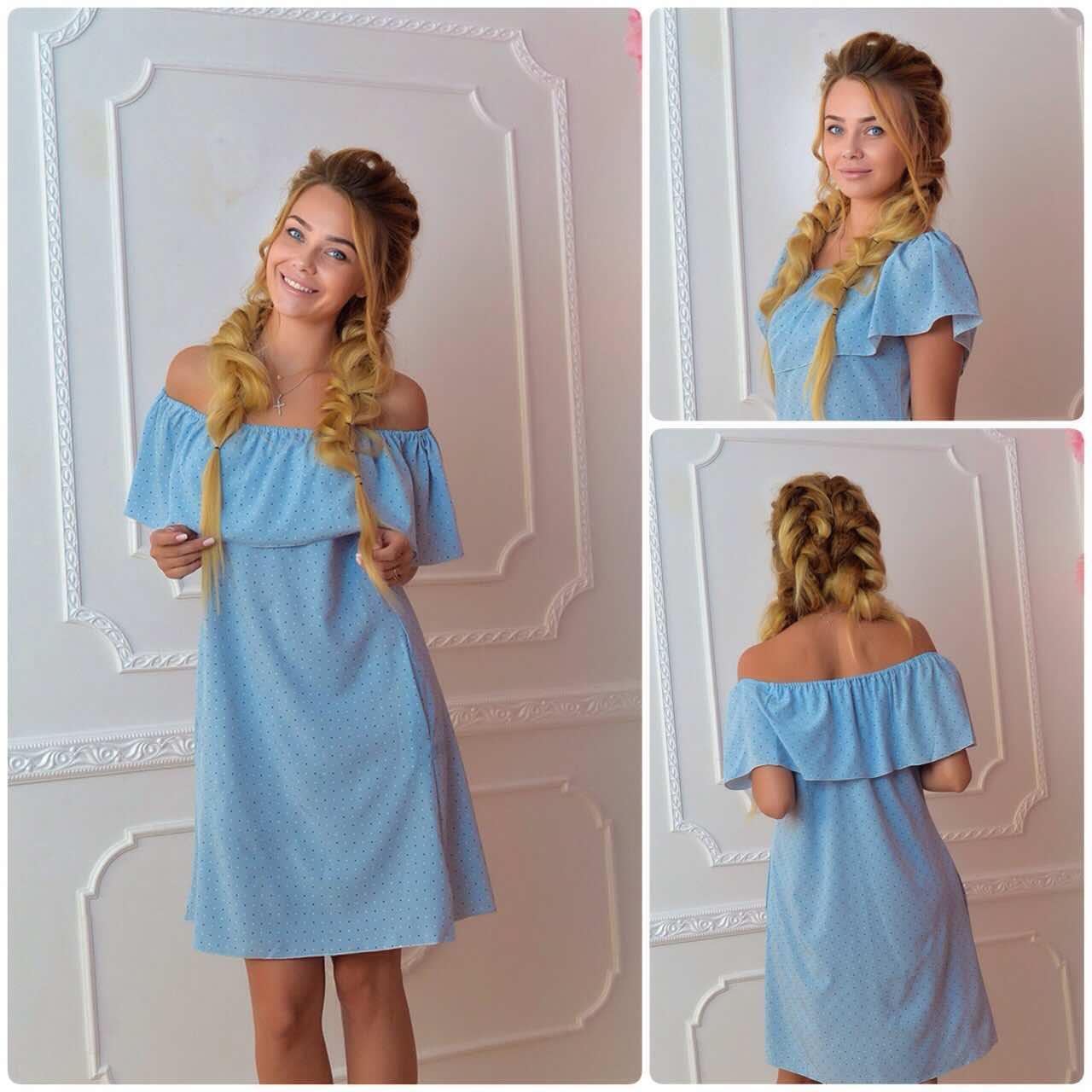 Платье 786 принт бело-синяя точечка на голубом