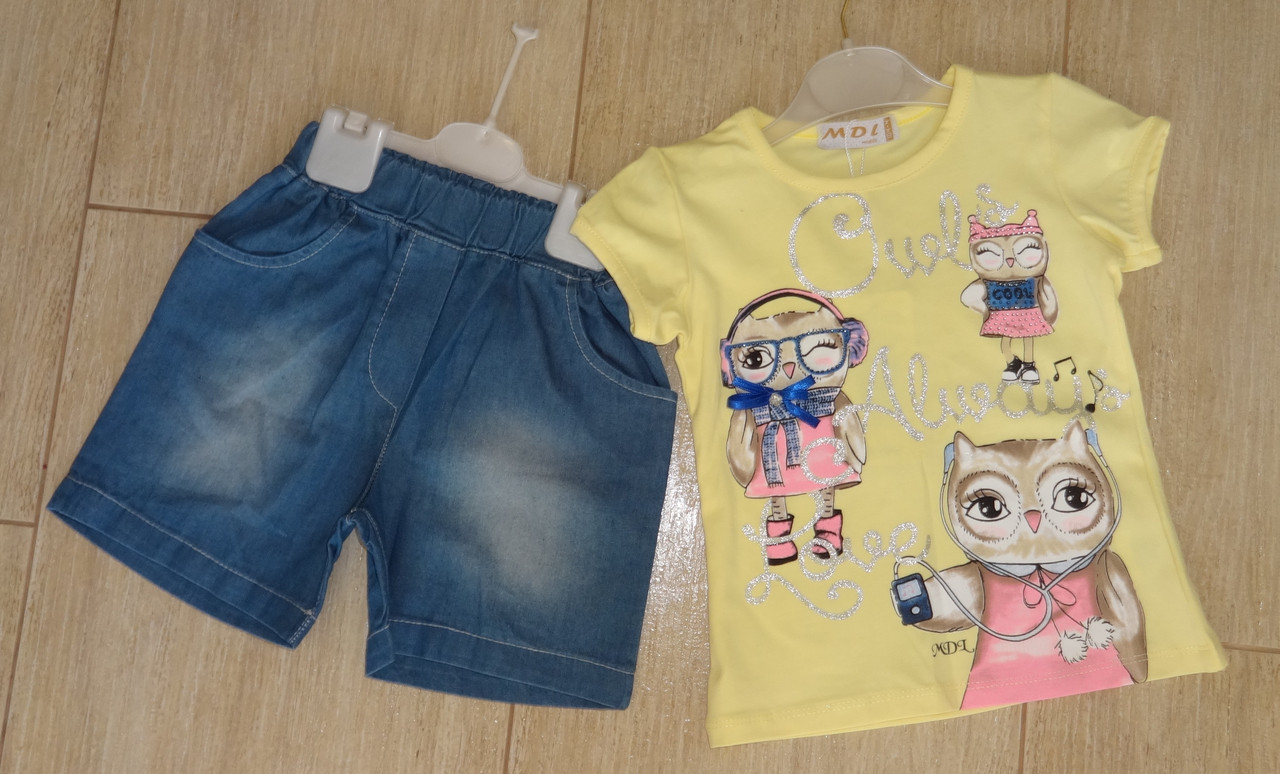 Комплект на девочку с джинсовыми шортиками