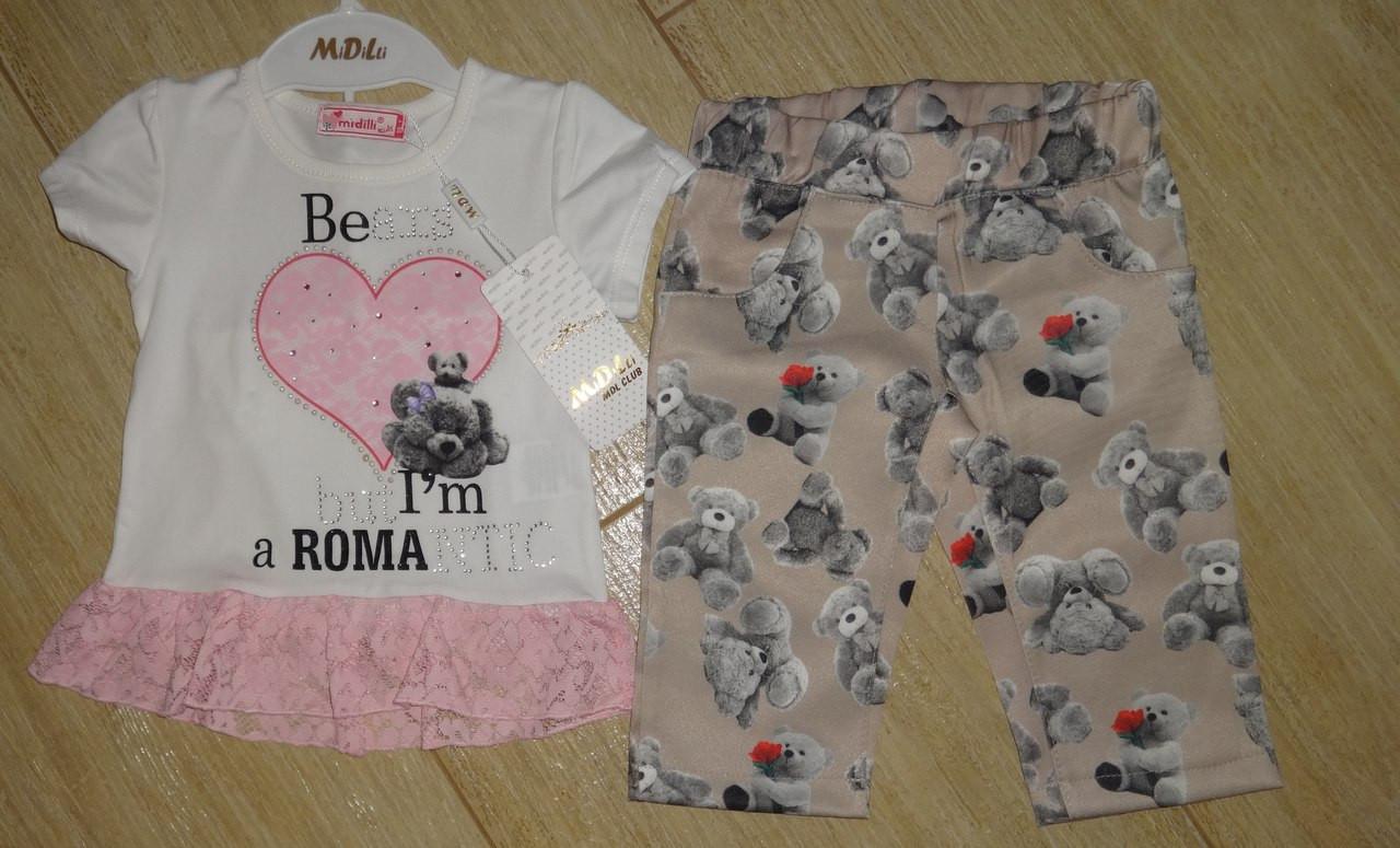 Комплект на девочку футболка стразы и шорты под джинс
