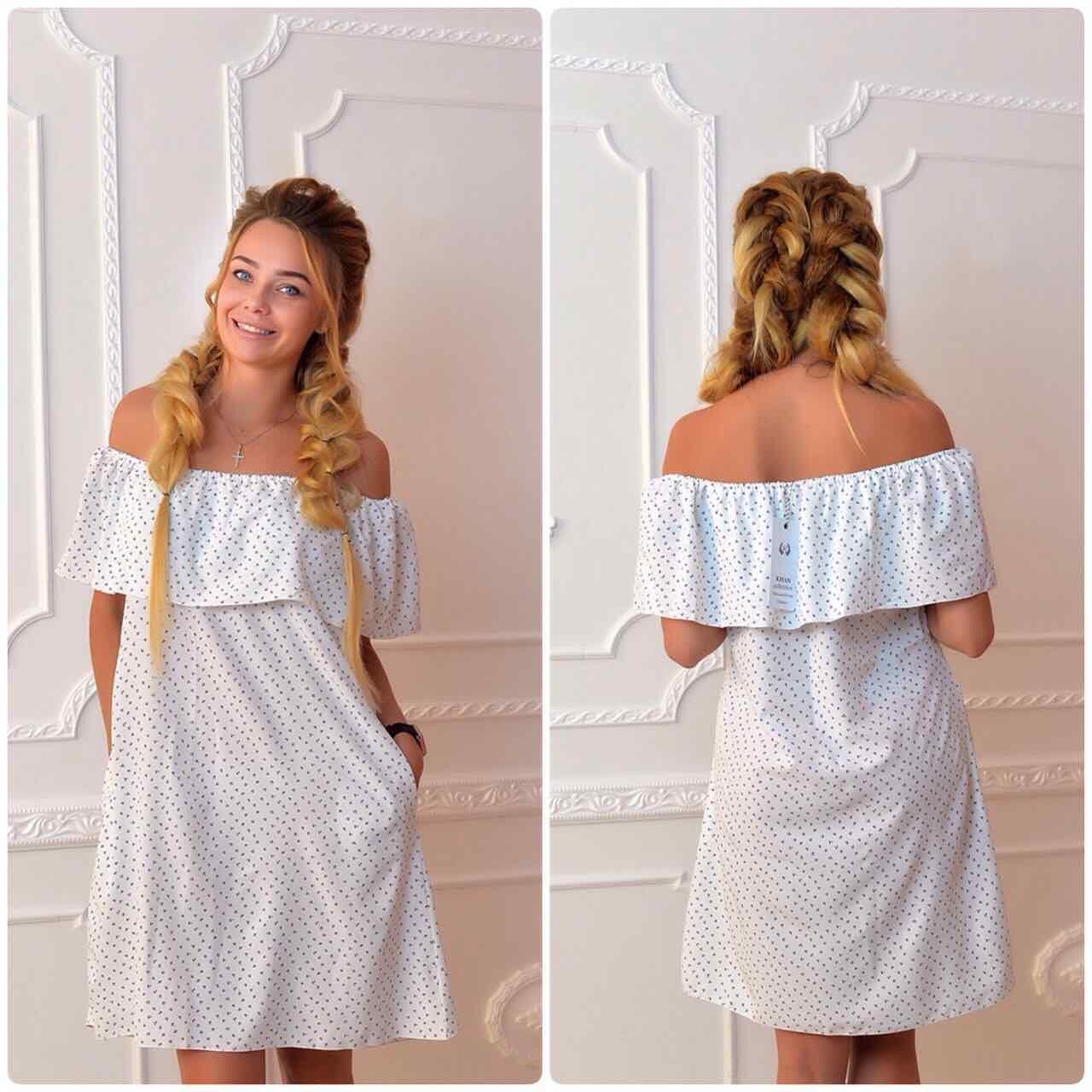 Платье 786 принт бутончики на белом