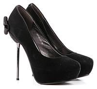 Женские туфли замшевые чёрные BASCONI