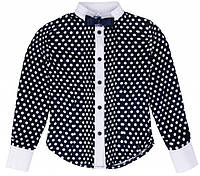 Блуза школьная с длинным рукавом Victoria ТМ Newpoint синяя для девочки 122 128 134