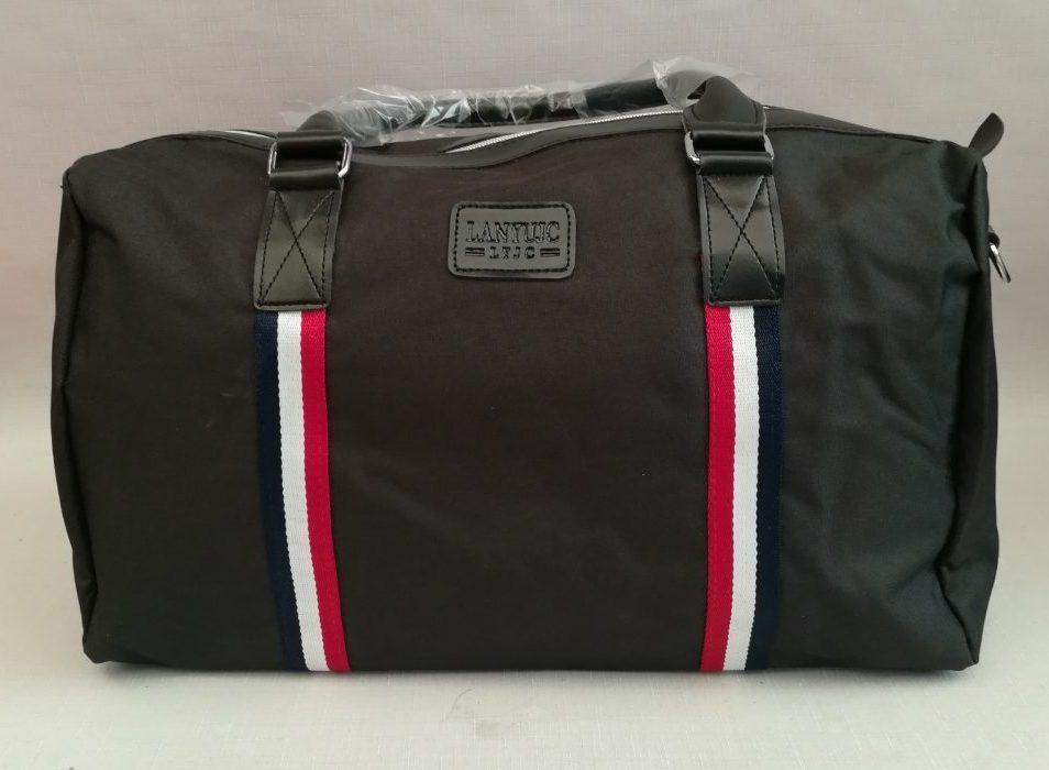 Спортивная сумка тканевая под джинс черного цвета