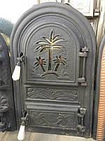 Дверцы печные со стеклом Пальма черная. Дверцы для кухни, барбекю