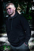 Толстовка мужская чёрная с капюшоном, размер S