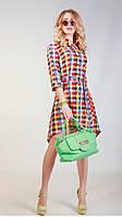 Женское платье-рубашка в клетку 3047 цветная клетка