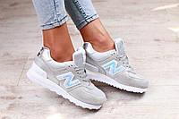 Замшевые женские кроссовки new balance серого цвета