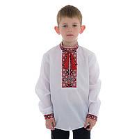 Детская вышиванка для мальчика с красно-черной вышивкой