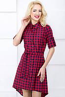 Женское платье-рубашка в клетку 3047 красный
