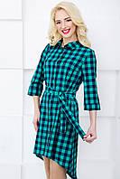 Женское платье-рубашка в клетку 3047 бирюза