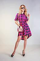 Женское платье-рубашка в клетку 3047 малиновый