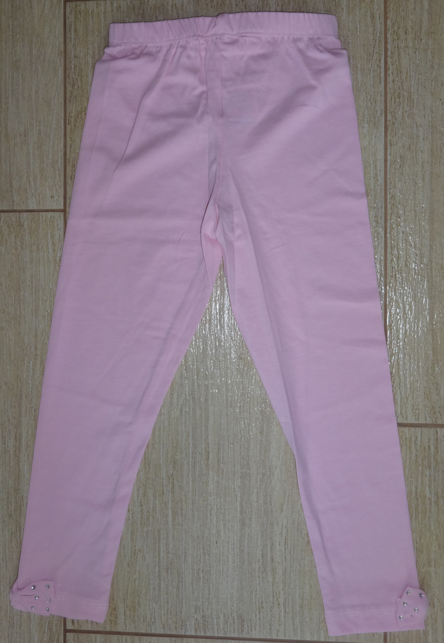 Лосины розовые с бантиками х/б
