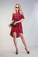 Женское платье-рубашка в клетку 3047 синий