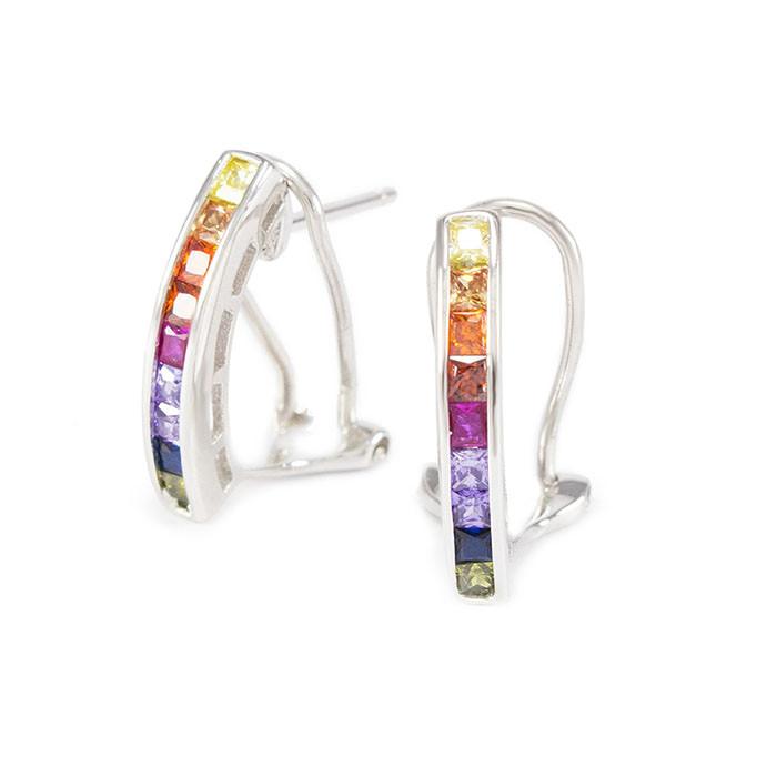 Серебряные сережки с разноцветными фианитами Арт. ER005SV
