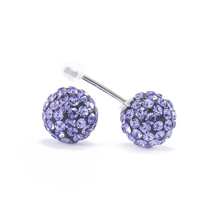 Сережки-гвоздики Кристальный шар 8 мм фиолетовые Арт. ER105SL