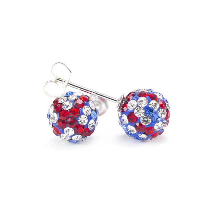 Сережки-гвоздики Кристальный шар 8 мм синие с красными и белыми полосами Арт. ER103SL