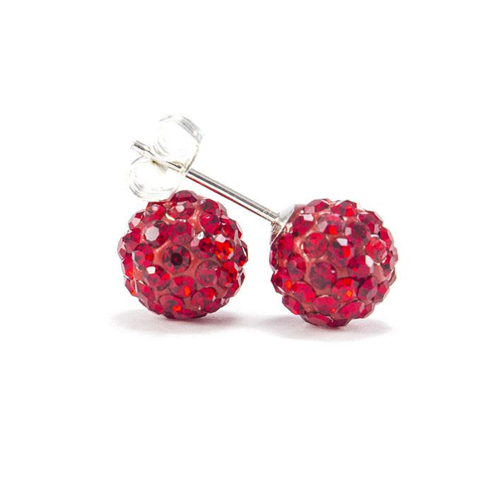 Сережки-гвоздики Кристальный шар 8 мм красные Арт. ER104SL
