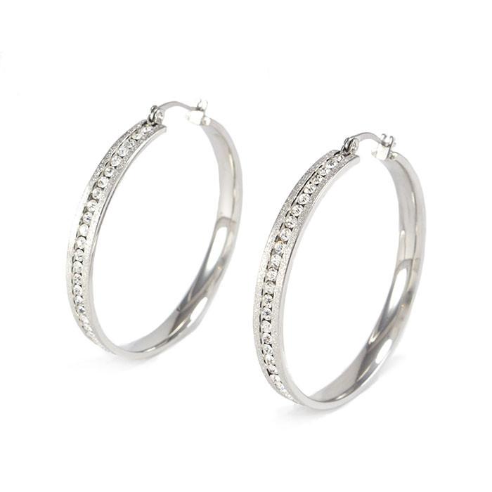 Сережки-кольца с фианитами по кругу серебристые Арт. ER080SL